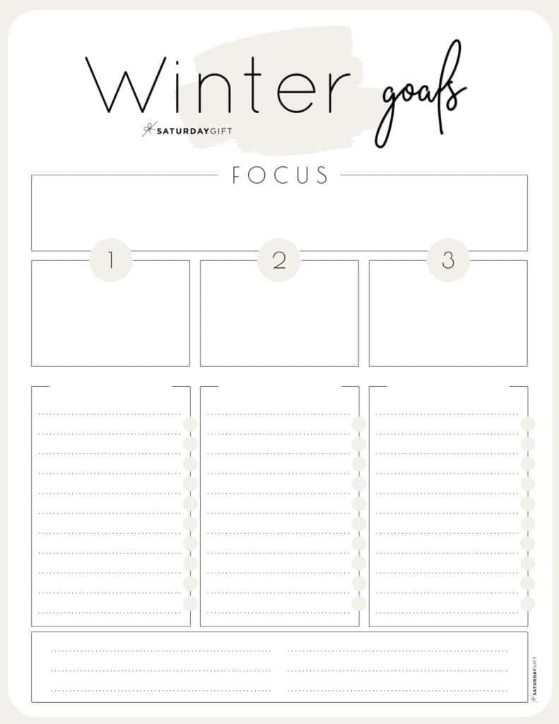 Beige Winter goals worksheet