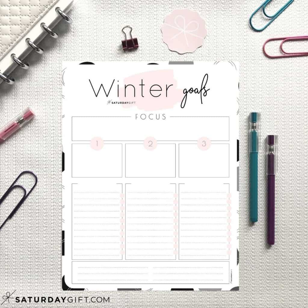 Pink worksheets to set and achieve your winter goals