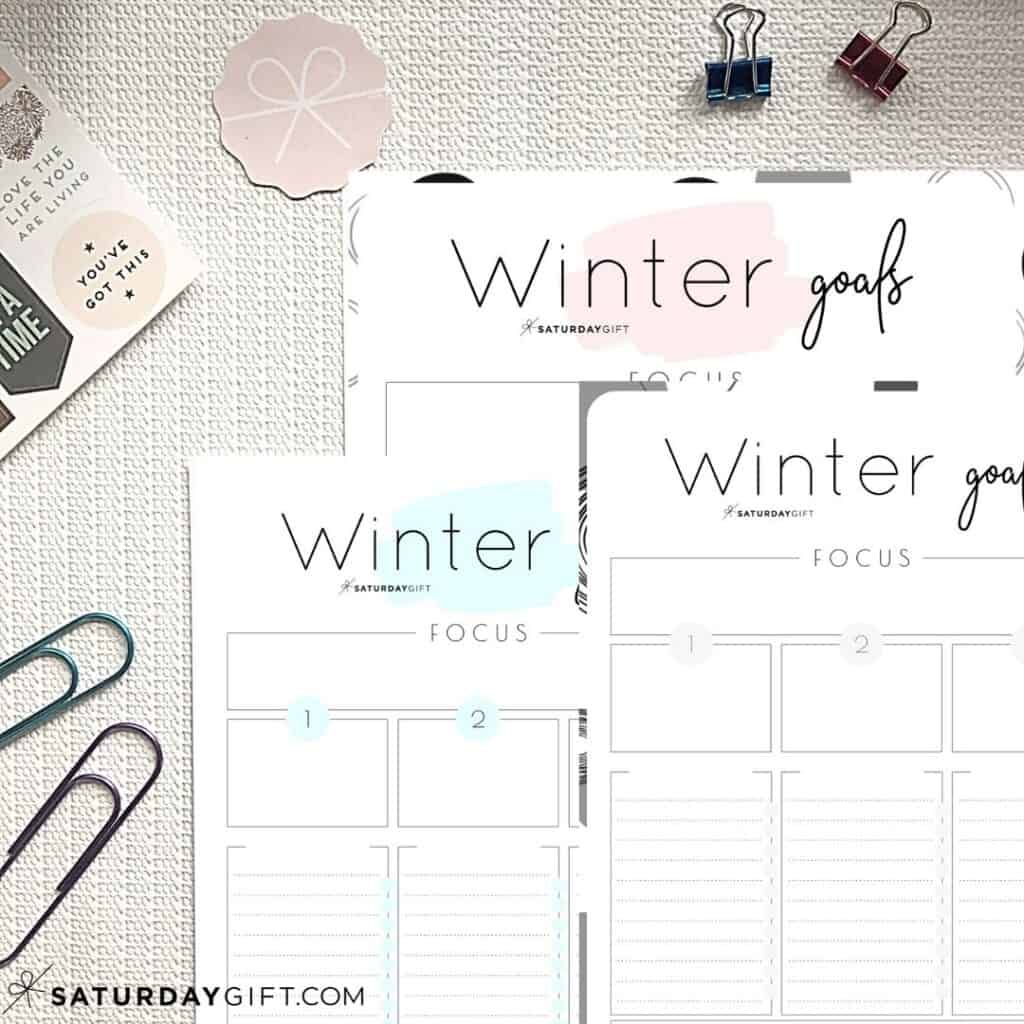 Pink, Blue and Black&White worksheets to set and achieve your winter goals