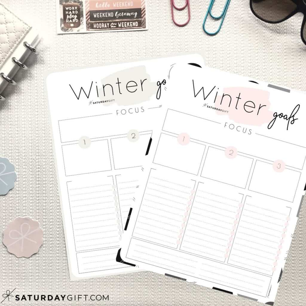 Beige and pink worksheets to set and achieve your winter goals