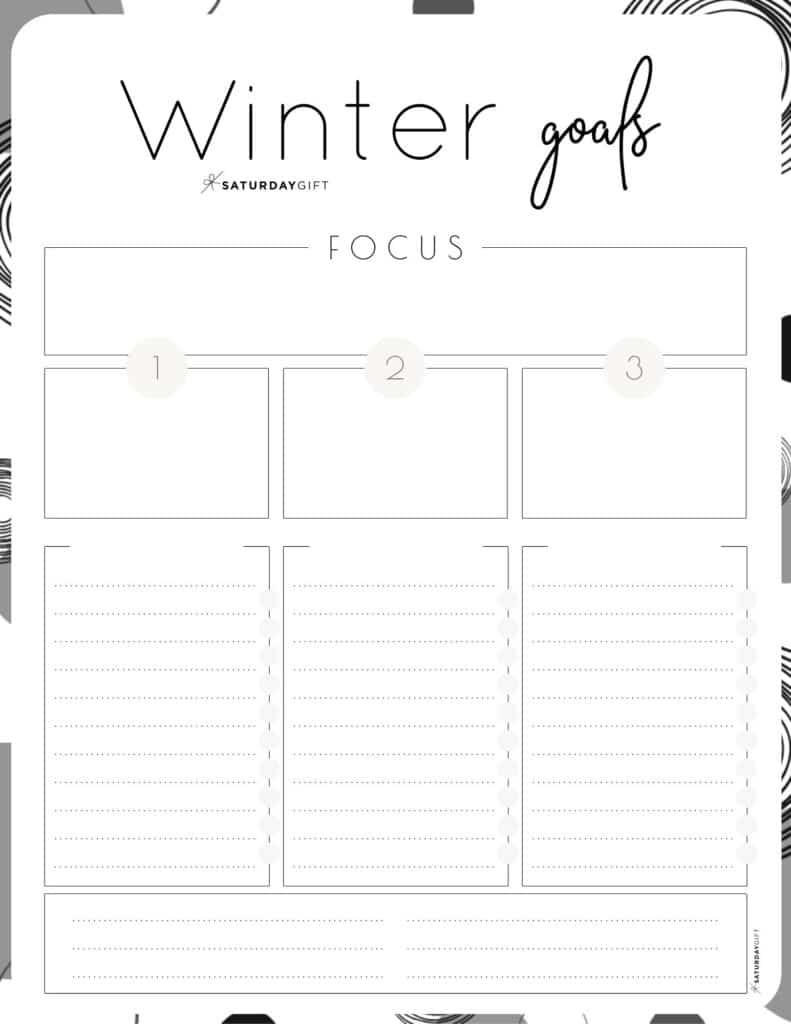 Black & White Winter goals worksheet