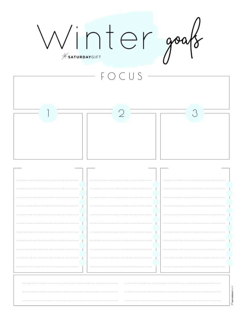 Blue Winter goals worksheet