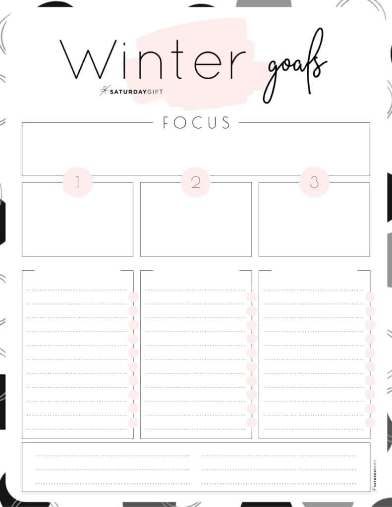 Pink Winter goals worksheet