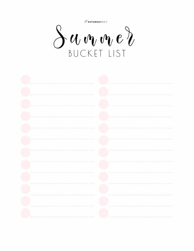 Pretty Pink Printable Summer bucket list