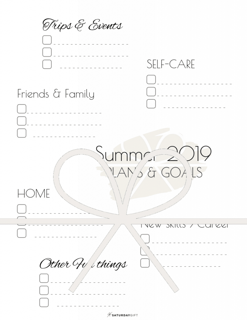 Summer plans and goals planner page - free printables   Multiple sizes   US Letter   A4   A5   Half Letter   Pretty printable   Planner insert   Planning & Organizing   2019 Calendar   Minimalistic & simple   SaturdayGift   Saturday gift #SaturdayGift