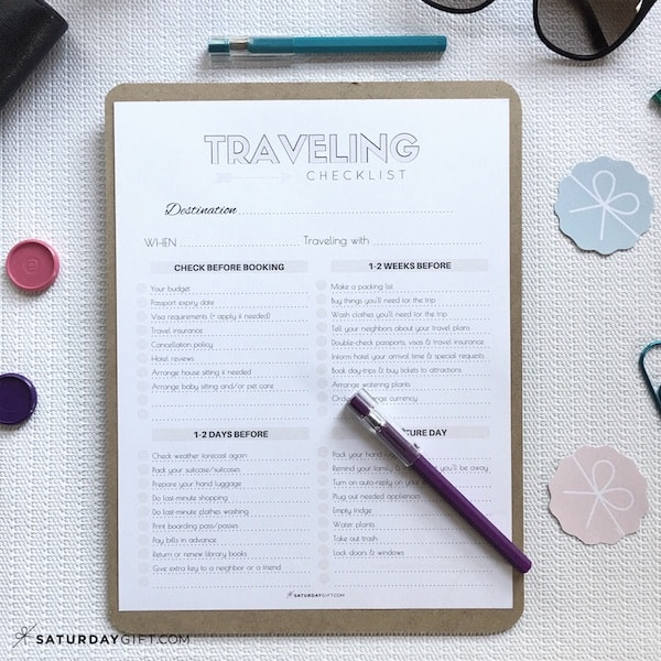 The Complete traveling checklist {Free printables} US letter | Pretty printables | Template | Checklist | SaturdayGift | Saturday gift #saturdaygift