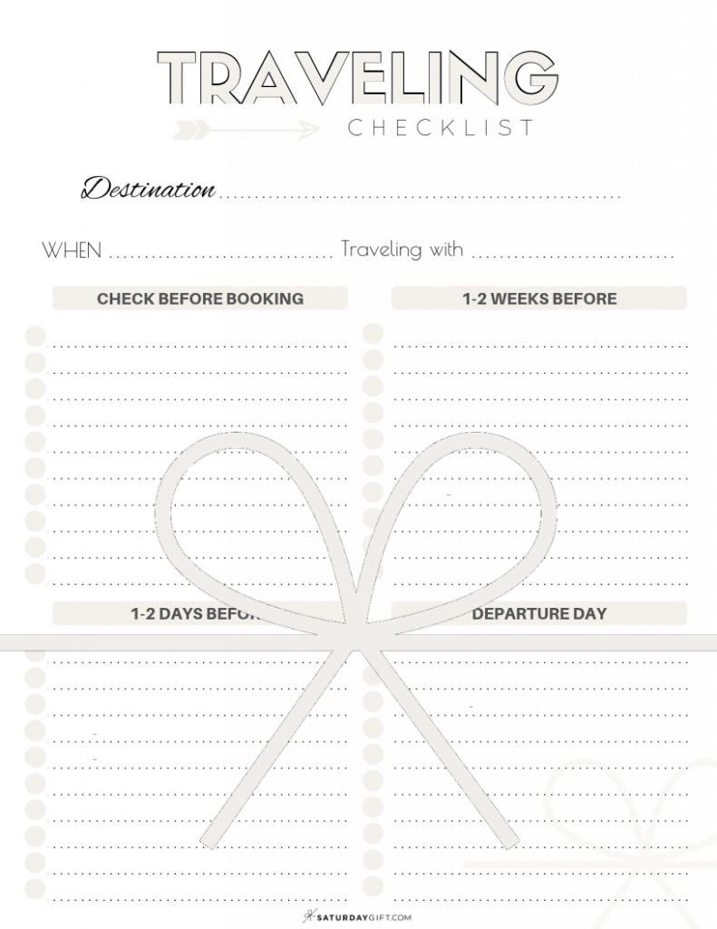 The Complete traveling checklist {Free printables} | Blank | US letter | Pretty printables | Template | Checklist | SaturdayGift | Saturday gift #saturdaygift