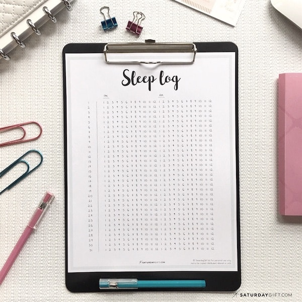 Sleep log - free printable | Sleep tracker | Track your sleep | Pretty printable | Plan & Develop | Letter size | Self care | Self Development | Personal Development | Planner sheet | SaturdayGift | Saturday gift #SaturdayGift