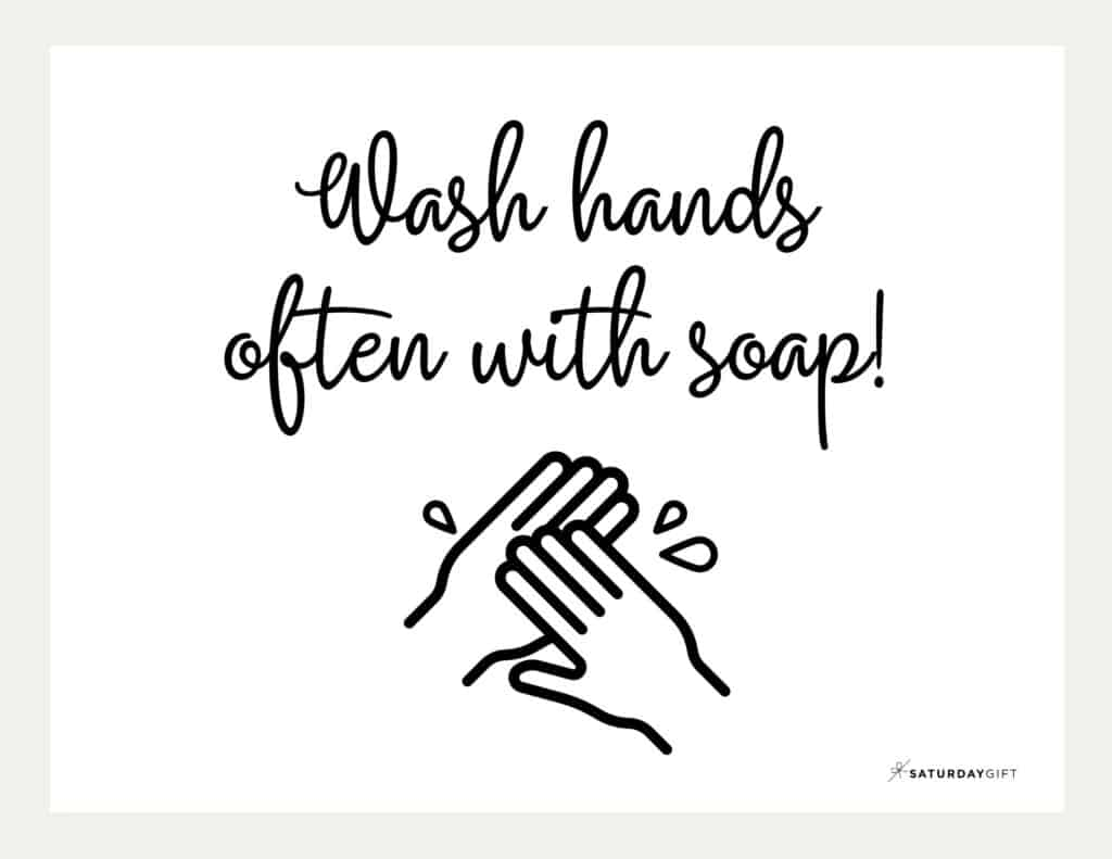 Wash Hands Sign Printable Beige Landscape | SaturdayGift