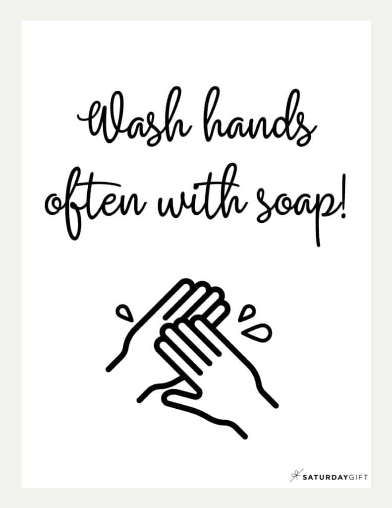 Wash Hands Sign Printable Beige | SaturdayGift