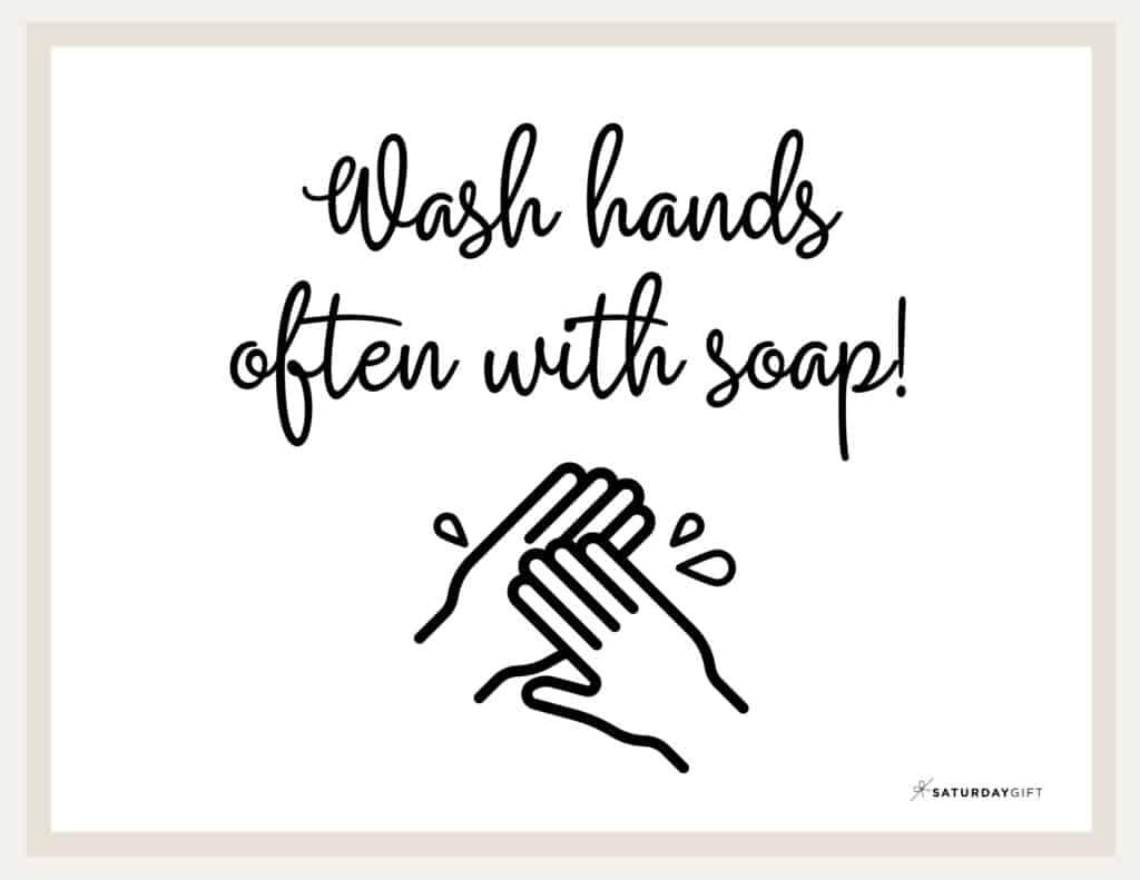 Wash Hands Sign Printable Beige2 Landscape | SaturdayGift