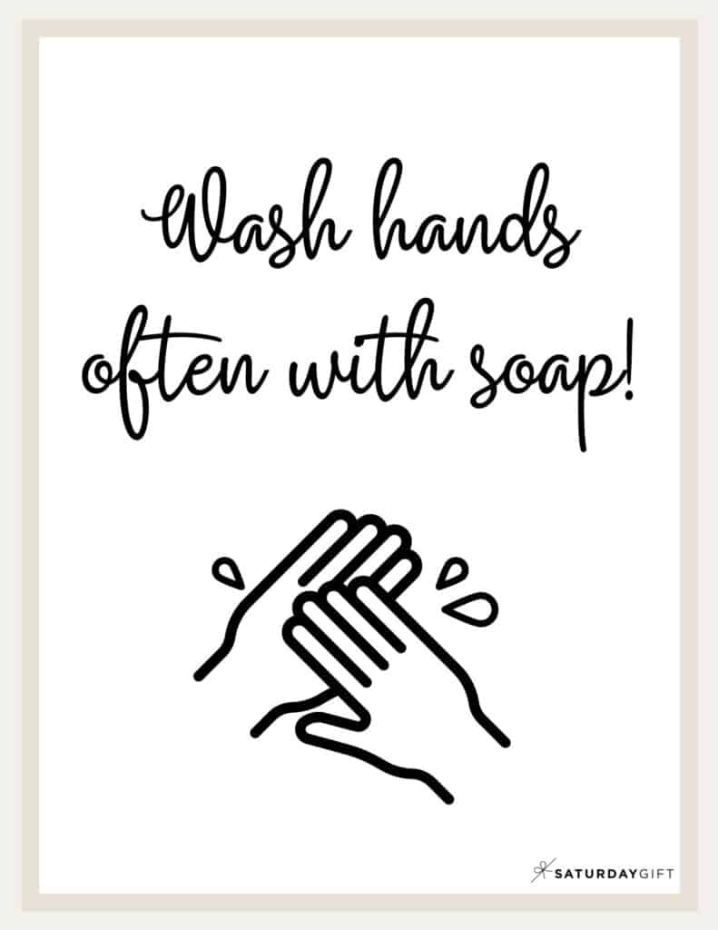 Wash Hands Sign Printable Beige2 | SaturdayGift