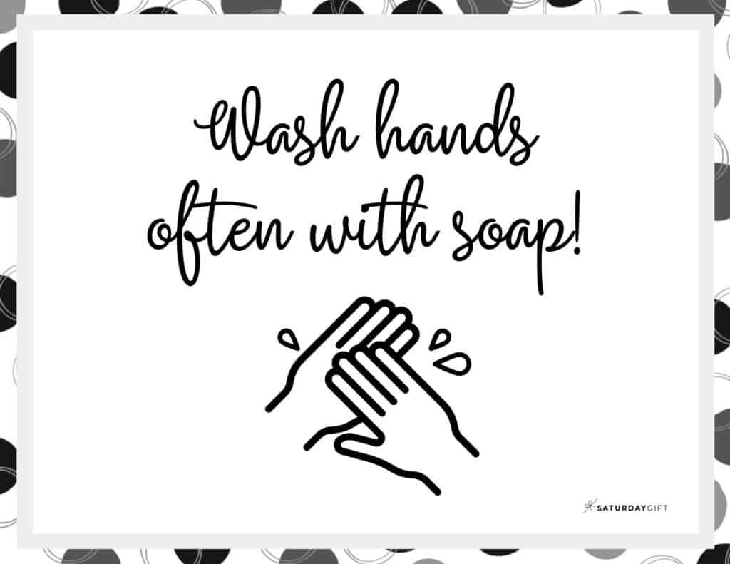 Wash Hands Sign Printable Black & White Landscape | SaturdayGift