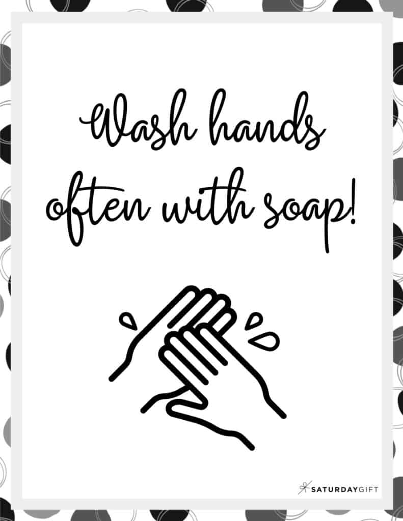 Wash Hands Sign Printable Black & White | SaturdayGift