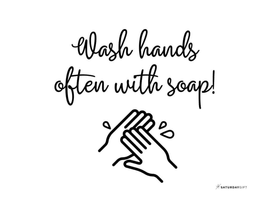 Wash Hands Sign Printable Black & White no border Landscape | SaturdayGift