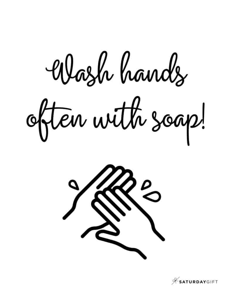 Wash Hands Sign Printable Black & White no border | SaturdayGift