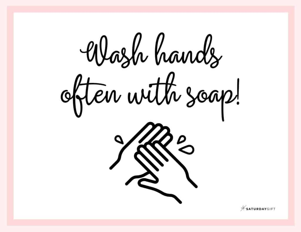 Wash Hands Sign Printable Pink Landscape | SaturdayGift