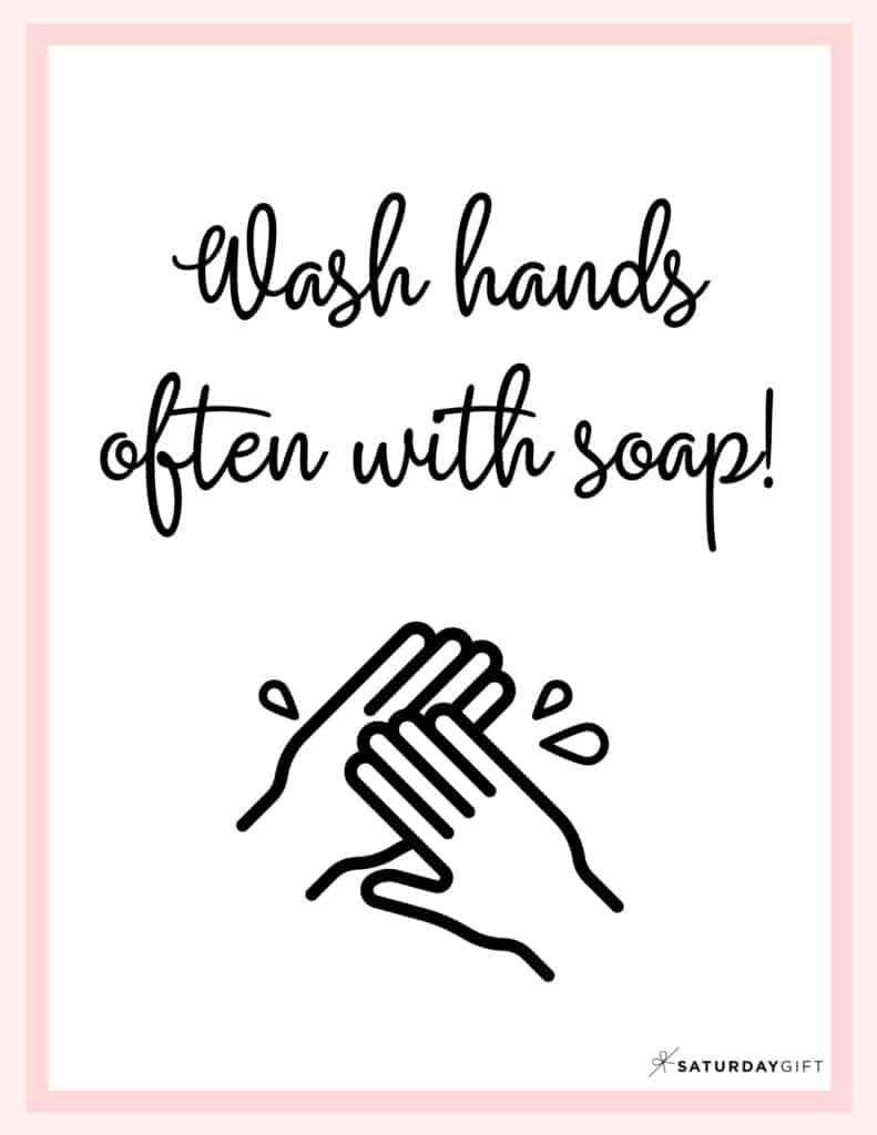 Wash Hands Sign Printable Pink | SaturdayGift