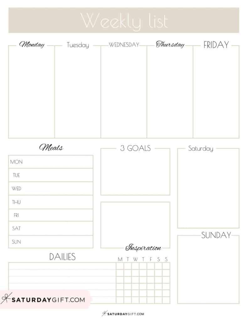 Beige Weekly List Printable