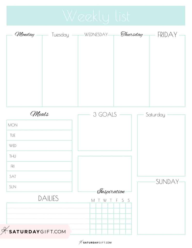 Blue Weekly List Printable