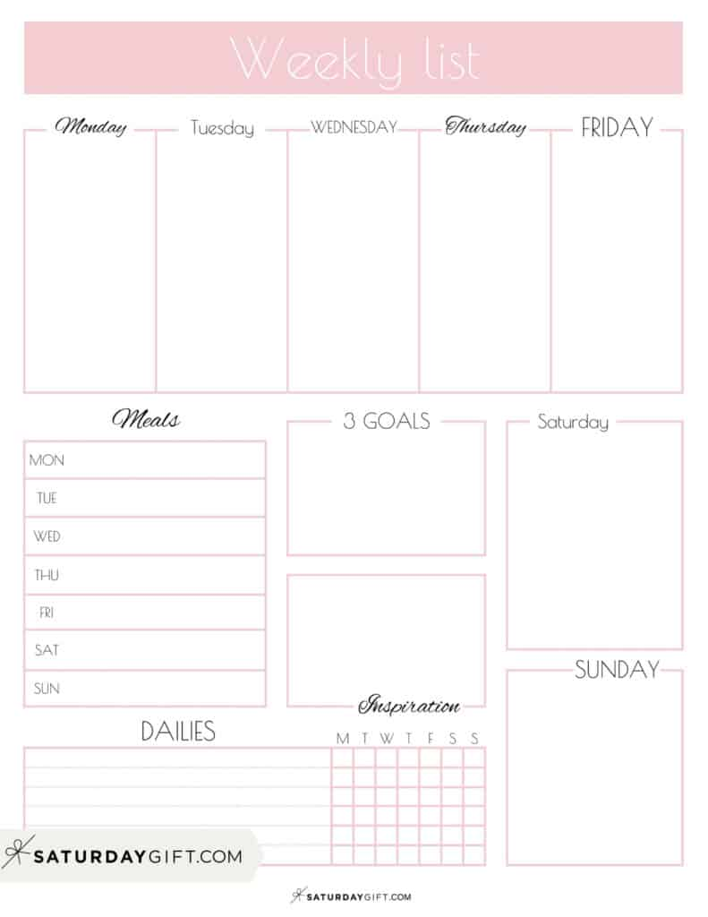 Pink Weekly List Printable