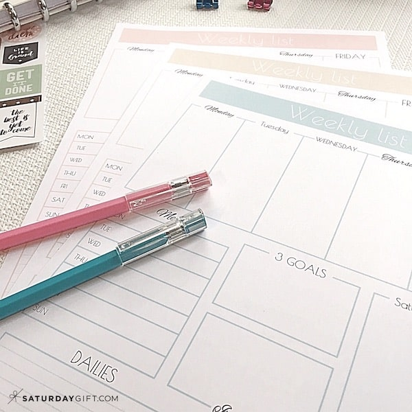 Weekly list one-page planner in light blue, elegant beige and pretty pink