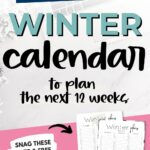 Minimal Winter Planner for December, January and February {Free Printable Calendar Worksheet}