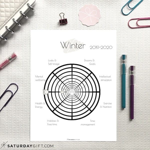 Before setting goals for the winter, assess your life with this winter wheel of life worksheet and find out in which areas of your life you are suffering or surviving and in which you're thriving. | Free printable planner sheet | Beige | US Letter | Resize to fit any planner | Pretty printable | Planner insert | Planning & Organizing | Minimalistic & simple | SaturdayGift | Saturday gift #SaturdayGift