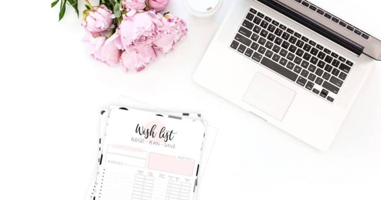 Budget, plan and even save money by using this cute printable Wish List