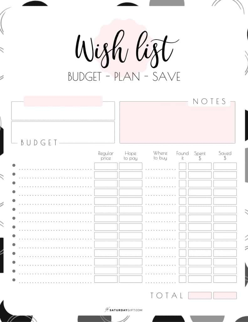 Wish List Printable Pretty Pink {Free Worksheet} - Budget Plan Save | SaturdayGift