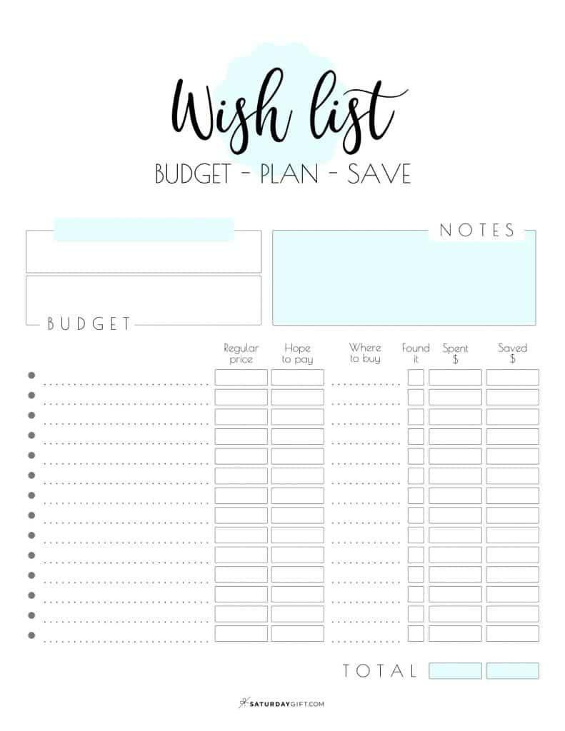 Blue Printable Wish List Worksheet