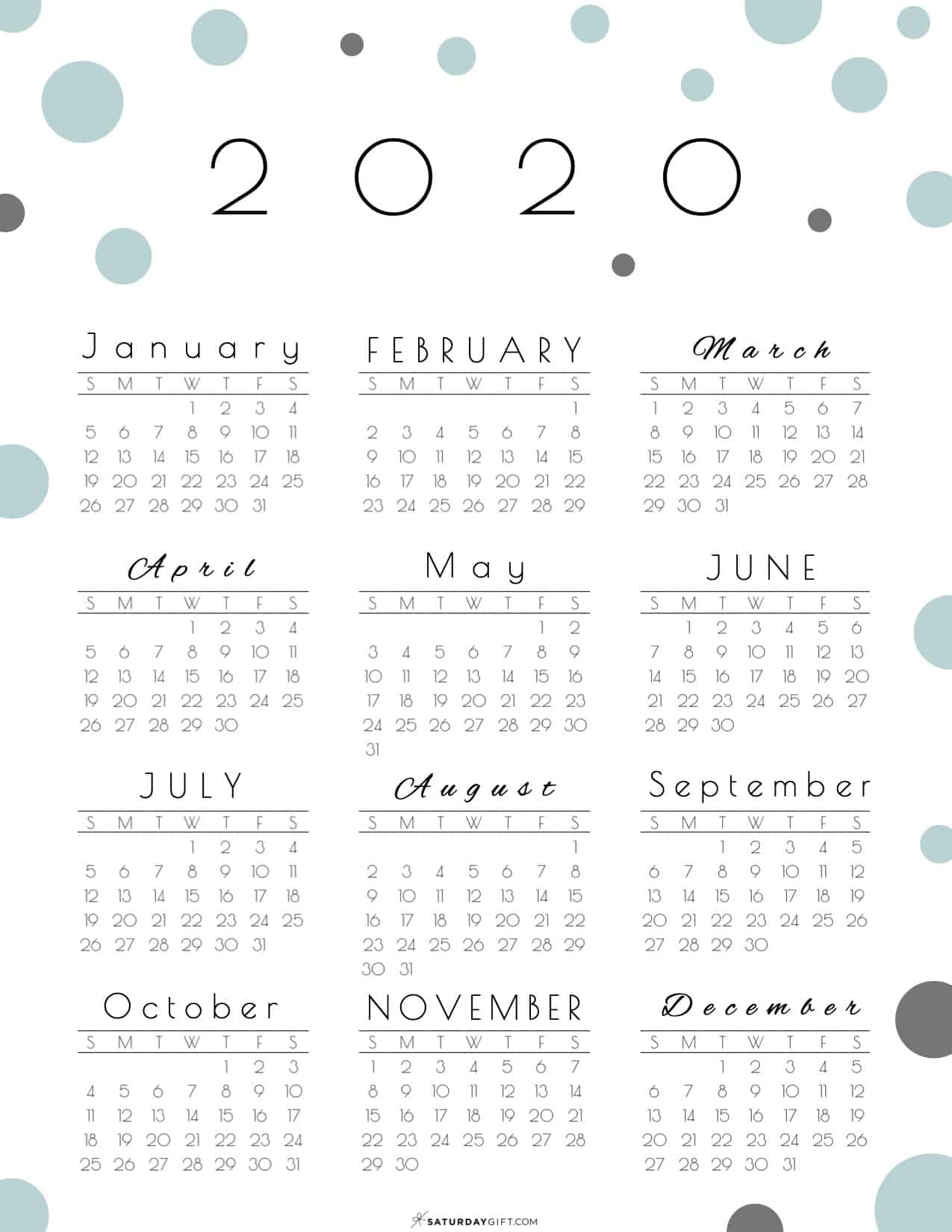 Pretty (and free!) Year at a glance calendar 2020. Click to post and download this pretty & practical calendar and start planning!
