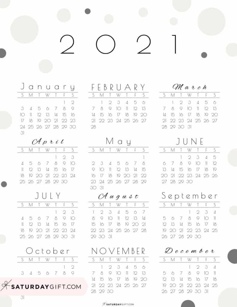 Elegant beige SaturdayGift Year at a glance calendar 2021 elegant beige